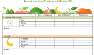 The New 4 6 Month Old Food Diary Chart